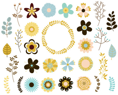 Vector collection of mod flowers and leaves