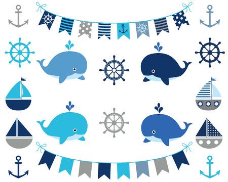 Conjunto náutico de elementos de diseño de niño en azul y gris - Bunting, barco, ballena, rueda, ancla Ilustración de vector