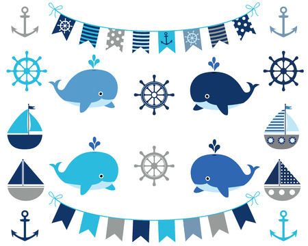 Nautical set of boy design elements in blue and grey -  bunting, boat, whale, wheel, anchor Stock Illustratie