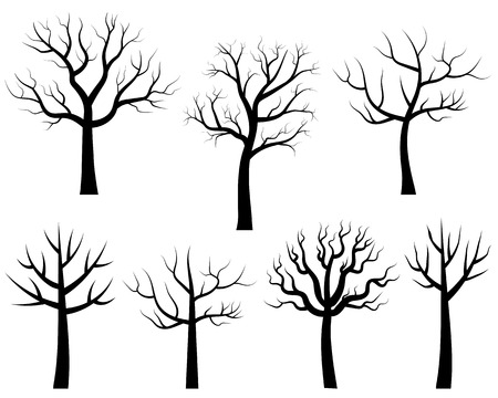 Cartoon bare trees in black, Vector trees without leaves Vettoriali