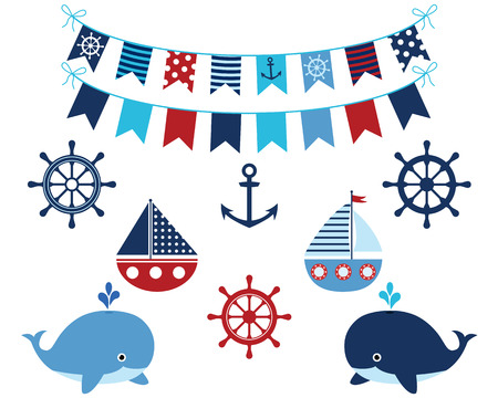 Nautical blue and red set of whales, boats, buntings, anchor, wheels. Marine and ocean theme design elements for baby showers, birthdays, invitations. Vectores