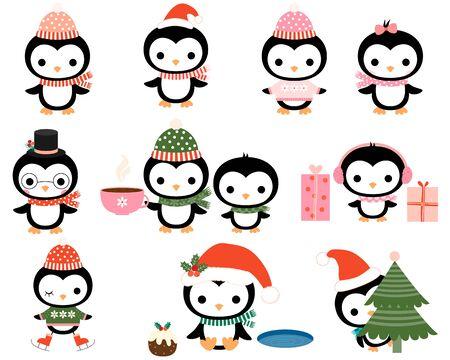 pinguinos navidenos: Pingüinos lindos de la Navidad con bufandas, sombreros, auriculares, gafas, patines en estilo plano para tarjetas de felicitación, invitaciones y diseños de la ducha del bebé Vectores