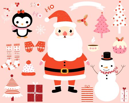 christmas pudding: Christmas vector characters and design elements - Santa Claus, penguin, snowman, trees, presents, stocking, mittens, holly
