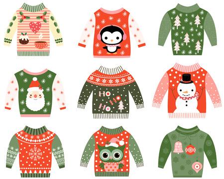 colección de suéteres feos linda Navidad, la invitación del partido del suéter conjunto de imágenes prediseñadas en colores rojos y verdes