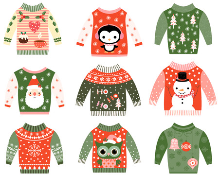 snowman cartoon: Cute ugly Christmas sweaters collection, Sweater party invitation clip art set in red and green colors