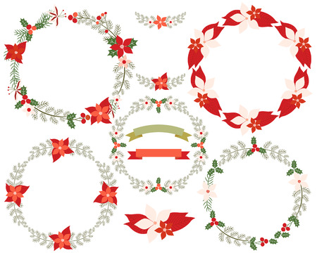 Round Christmas wreath border set with branches, leaves, flowers, poinsettia in red and green colors. For greeting cards, festive designs, invitations