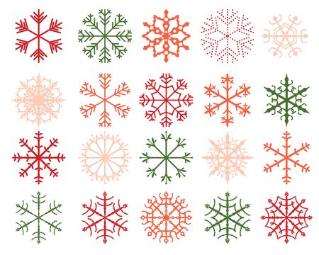 decoraton: Winter snowflake designs, abstract geometric shapes in green, red and pink colors Illustration