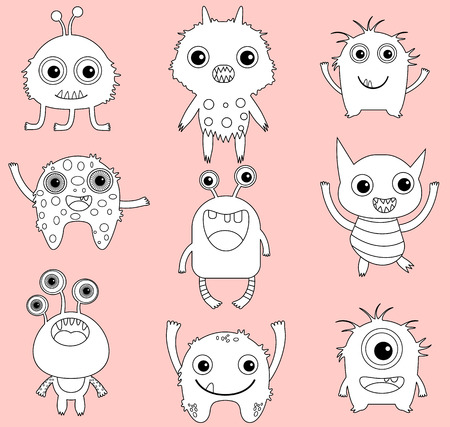digi: A set of cute vector monsters or aliens clip art with black outline and white infill for coloring pages, books and digital stamps Illustration