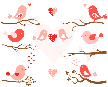 a sprig: Stylized birds in pink and tree branches in brown in flat style for Valentines day and wedding designs Illustration