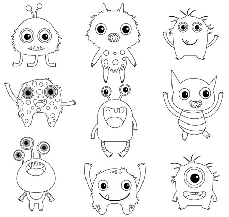 A collection of funny and cute vector monsters or aliens -  black outlines isolated on white for coloring pages or books Vectores