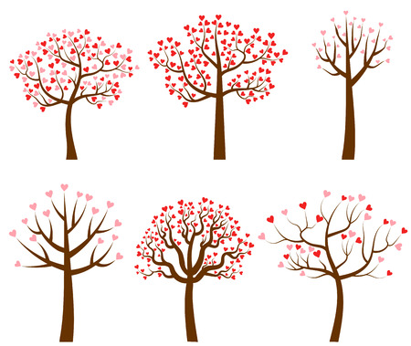 Set of vector tree illustration with red and pink heart shaped leaves for Valentiness day and wedding designs