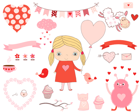 Cute love set with design elements - little girl with balloon, animals and hearts for Valentines day, birthdays and party invitations Illustration