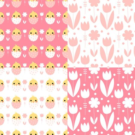 Cute Easter seamless pattern set with chickens and flowers on pink and white background