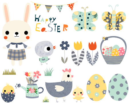 passover and easter chick: Happy Easter fun vector set with cute animals - bunny, peeps and butterflies for greeting cards, invitations and kids projects.