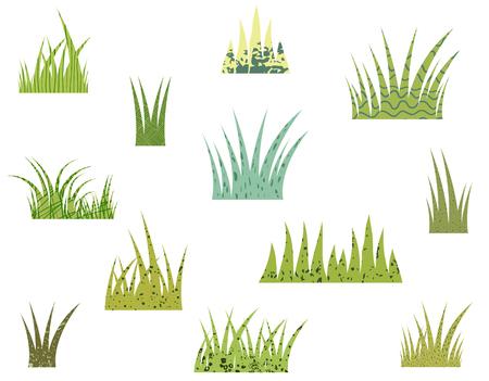 ベクトルのタフツ様式白い背景のテクスチャで緑の草  イラスト・ベクター素材