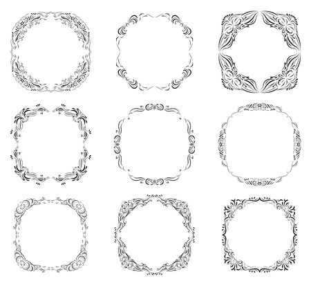 royal wedding: set with ornate borders and frames in vintage calligraphic style