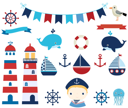 baby: Nautical vector design elements with boats, helms and lighthouses for summer baby showers and invitations