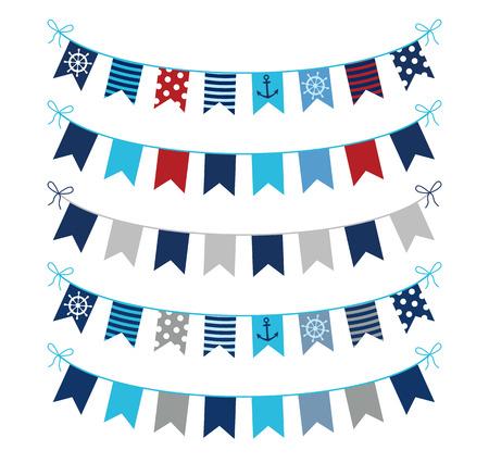 グリーティング カード、招待状、スクラップ ブックのデザイン、青、赤、グレー色で航海のテーマ ベクトル ホオジロ花輪のセット