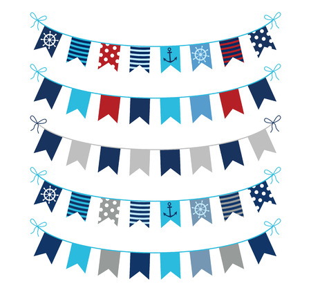 Set of nautical themed vector bunting garlands in blue, red and grey colors for greeting cards, invitations and scrapbooking designs Vectores