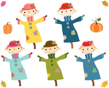 Cute autumn scarecrows with pumpkins and leaves Иллюстрация