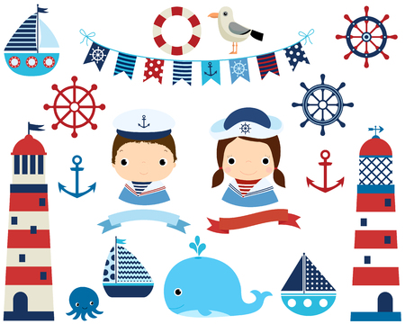 Cute nautical set with girl and boy, lighthouses and marine design elements Illustration