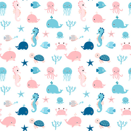 underwater fishes: Cute summer seamless pattern with sea animals in blue and pink colors for kids textile, clothing and package design Illustration