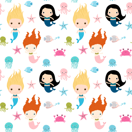 fictional: Cute seamless pattern with mermaids and sea animals