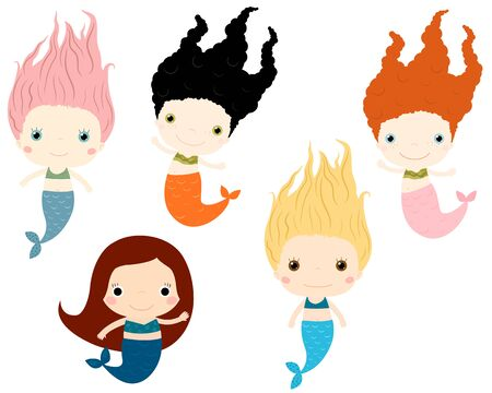 Cute vector mermaids characters in flat style Illustration