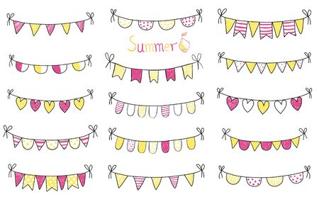 children party: Vector summer buntings with black outlines