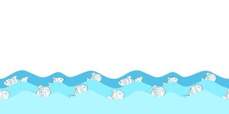 Leuk naadloos grenspatroon met overzeese golven en beeldverhaalvissen voor groetkaarten, textiel, brochures en andere ontwerpen