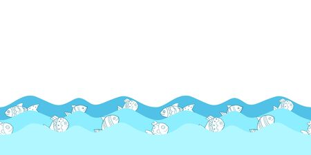Cute seamless border pattern with sea waves and cartoon fish for greeting cards, textile, brochures and other designs