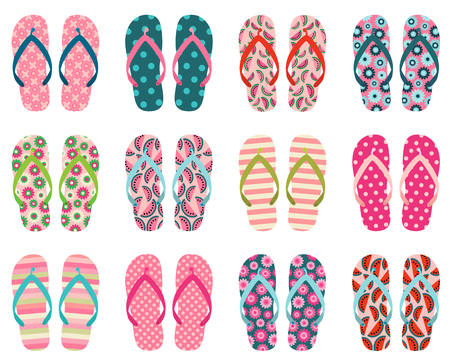 Vector set with cute and colorful summer flip flops for beach holiday designs Ilustração