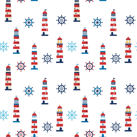 for boys: Cute lighthouses seamless pattern in blue and red colors for boys clothing and invitations and other children designs