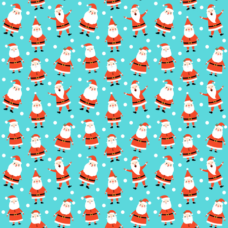 Cute winter and Christmas seamless pattern design with Santa Claus in red costume on blue background with white dots