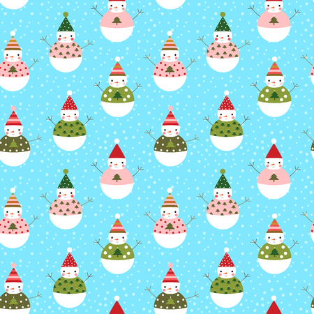 Cute vector seamless pattern with snowmen with hats for winter and Christmas designs and wrapping paper Illustration