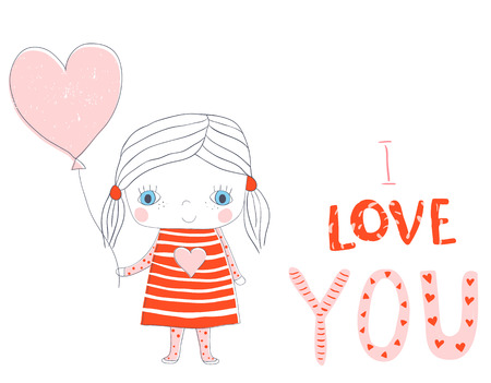 Vector greeting card for Valentines day with cute girl holding a balloon in the shaped of a heart and with I love you text in pink and red colors Illustration