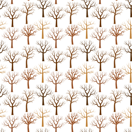A Vector pattern with bare tree in brown color on white background illustration. Illustration