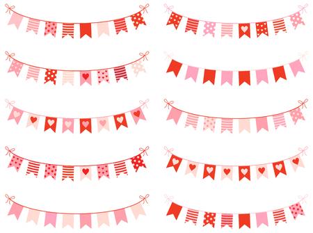 Bruant mignon avec des coeurs, des points et des rayures dans des couleurs roses et rouges pour la Saint-Valentin, des invitations et des cartes de voeux