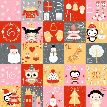 vector advent calendar for christmas with numbers and cute winter