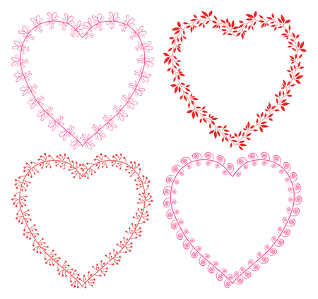 Floral vector wreath frames in the shape of hearts in pink and red colors for Valentines day, invitations and greeting cards Illustration