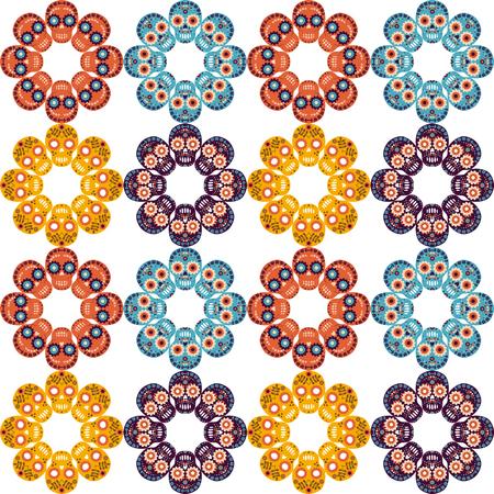 Patrón sin costuras lindo vector con calaveras en forma de flores para textil, ropa y diseño de papel Foto de archivo - 84489735