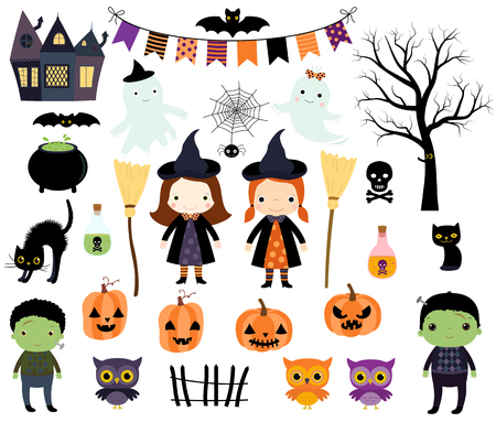 Cute Halloween vector set with kids in costumes , animals and design elements for invitations, greeting cards and scrapbooking
