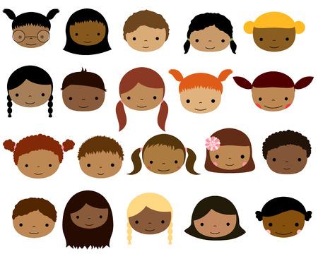Visages mignons des enfants avec une couleur de peau sombre