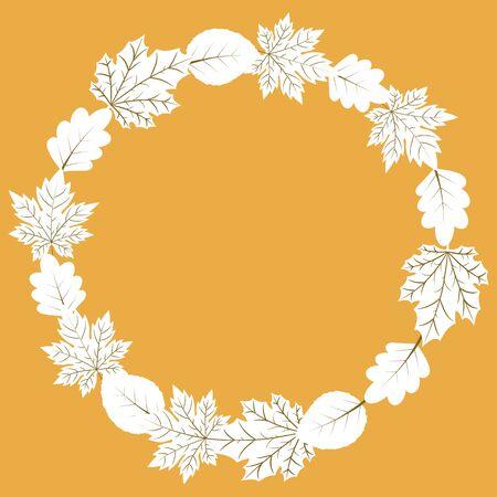 Vector autumn wreath frame with leaves, Vector illustration.