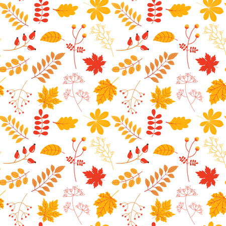 Autumn vector seamless pattern with colorful leaves and twigs in yellow and red colors for textile, clothing and paper design