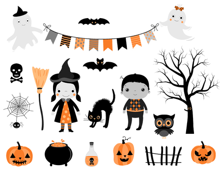 Stylish Halloween set in grey, orange and black colors with kid characters in costumes and design elements for greeting cards, invitations and scrapbooking