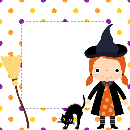 Cute square vector border with cartoon girl in witch costume with hat and orange dress, black cat and a broom, copy space for text and polka dot background Illustration