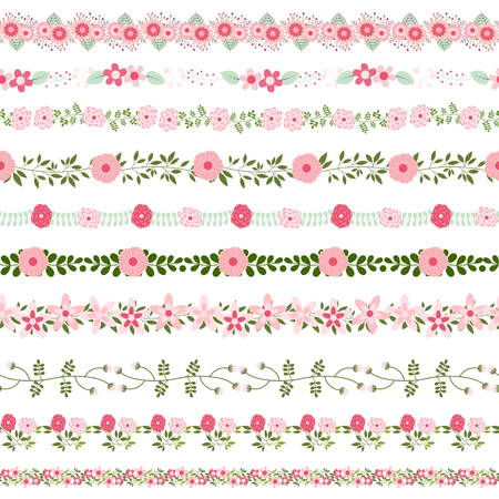 Vector floral borders in pink and green colors - could be connected seamlessly Illustration