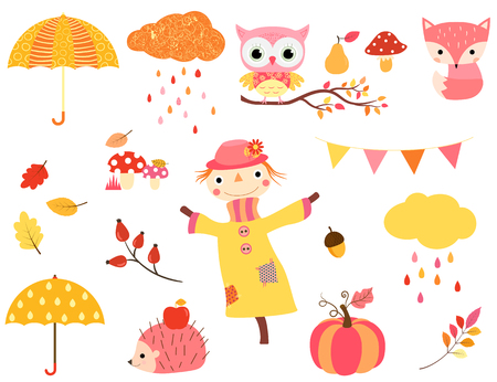 owl illustration: Cute autumn set in warm colors with animal characters, scarecrow and fall design elements for kids and babies