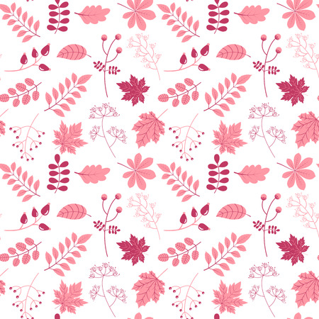 Elegant vector seamless pattern in flat style with leaves and twigs in pink colors on white background for invitations, scrapbook and textile designs